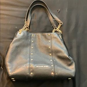 Michael Kors black leather purse with gold detail